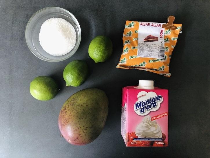 Ingrediente Cremă Tartă cu Mango și Lime