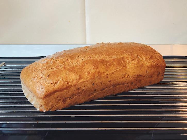 keto bread in the oven