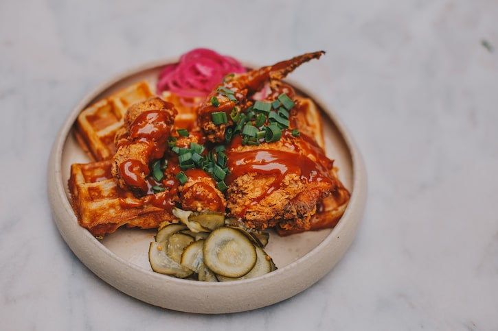 spicy caramel chicken and waffle anika